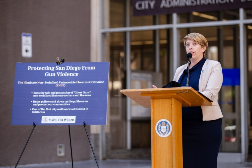 San Diego Councilmember Marni von Wilpert speaks outside the City Administration Building about ghost guns.