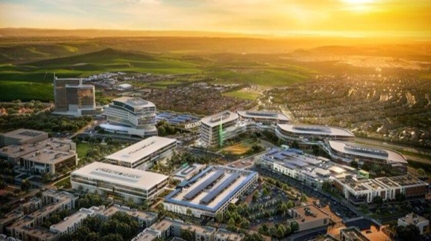 An artist rendering of Chestnut Properties' Chula Vista office campus planned for the Millenia project.