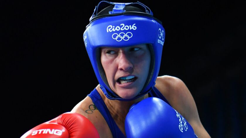 Mikaela Mayer fights during the 2016 Summer Olympics.