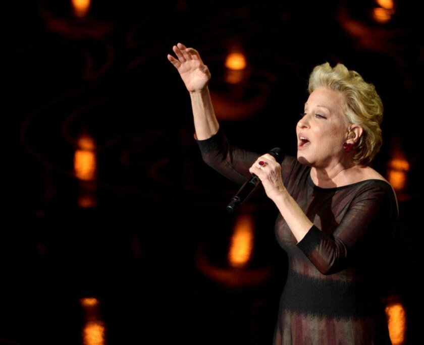 "Bette Midler sings ""Wind Beneath My Wings"" accompanying the ""In Memoriam"" montage at the 86th Academy Awards."