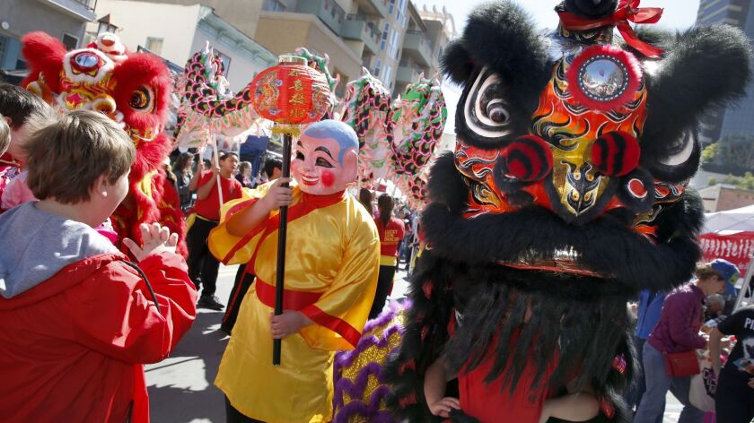 Lucky Lion Dancers entertain attendees of the 36th annual Chinese New Year Fair held in downtown San Diego.