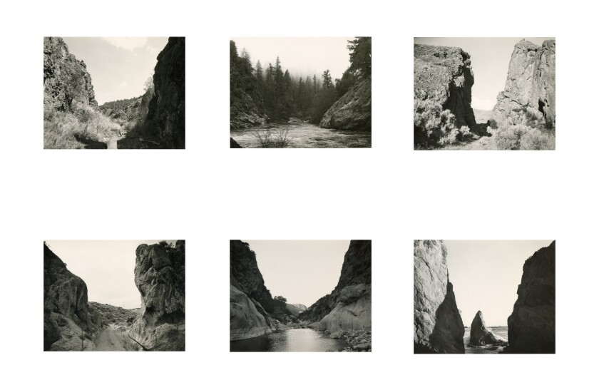 Detail of grid of photographs of Devils Gate and Hells Gate by Mark Ruwedel at Gallery Luisotti