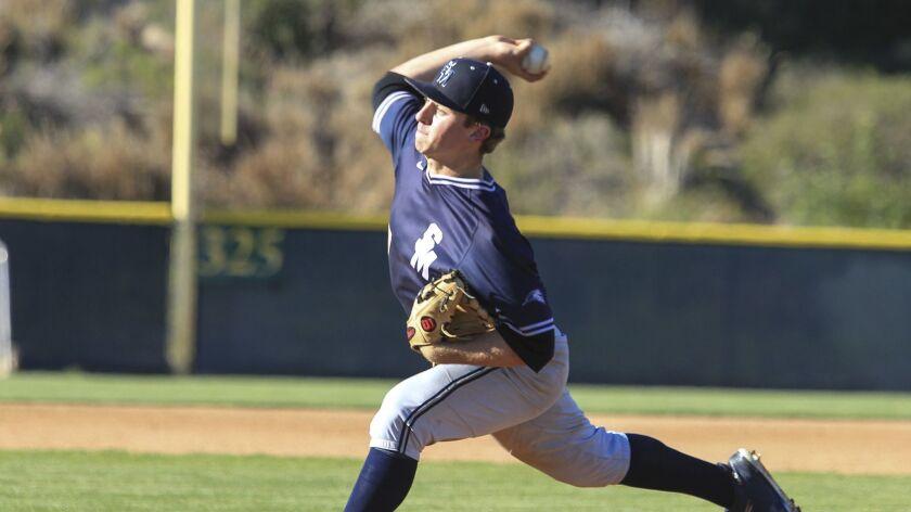 San Marcos Zach Prajzner pitches against Rancho Bernardo in the Lions Tournament high school basebal