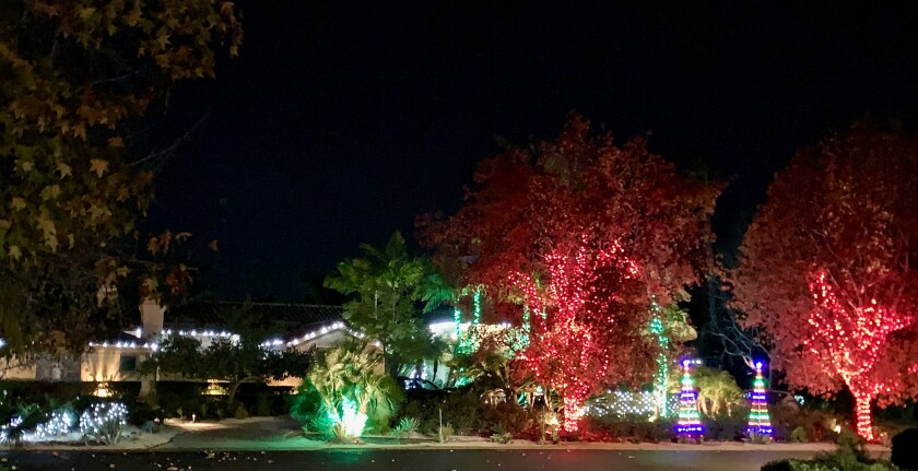 In photo above and photos below: Holiday lights at Fairbanks Ranch Estates