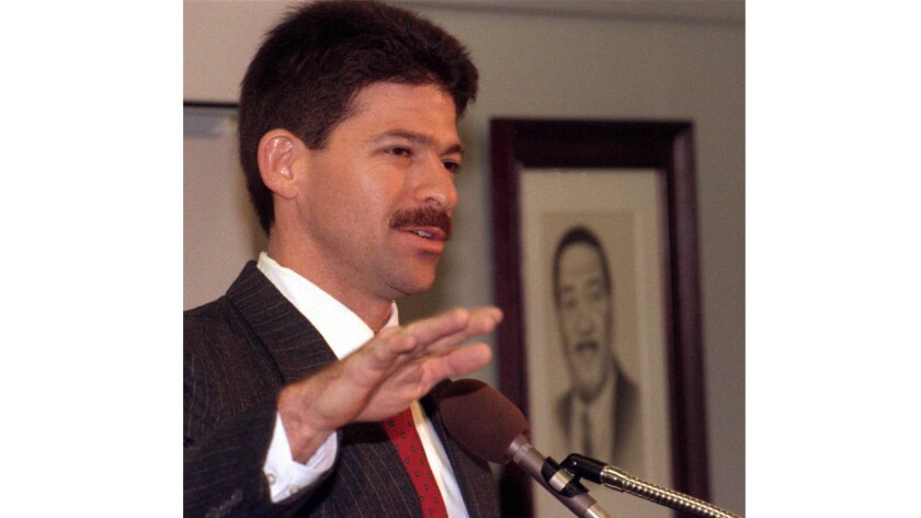 Mitchell Grobeson speaks at a 1993 news conference after his reinstatement to the Los Angeles Police Department.