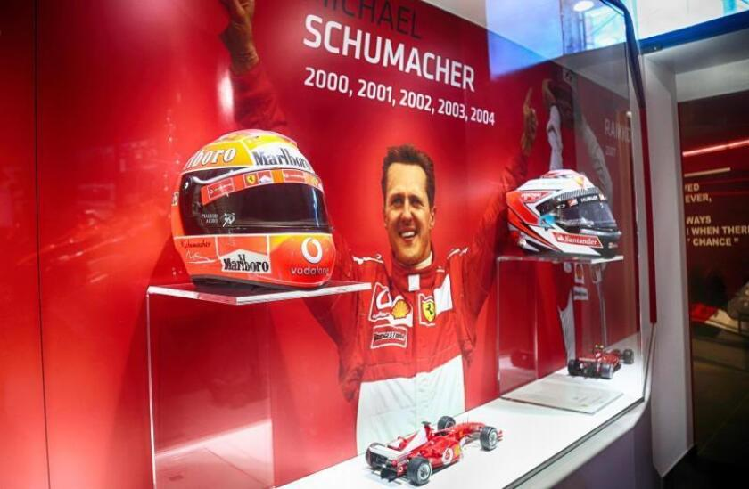 """Vista de la exposición """"Michael 50"""" que el Museo Ferrari dedica al expiloto de Fórmula Uno Michael Schumacher coincidiendo con el 50 cumpleaños del siete veces campeón mundial, en el Museo Ferrari de Maranello, cerca de Módena (Italia), hoy, 3 de enero de 2019. EFE/Foto cedida por Ferrari"""