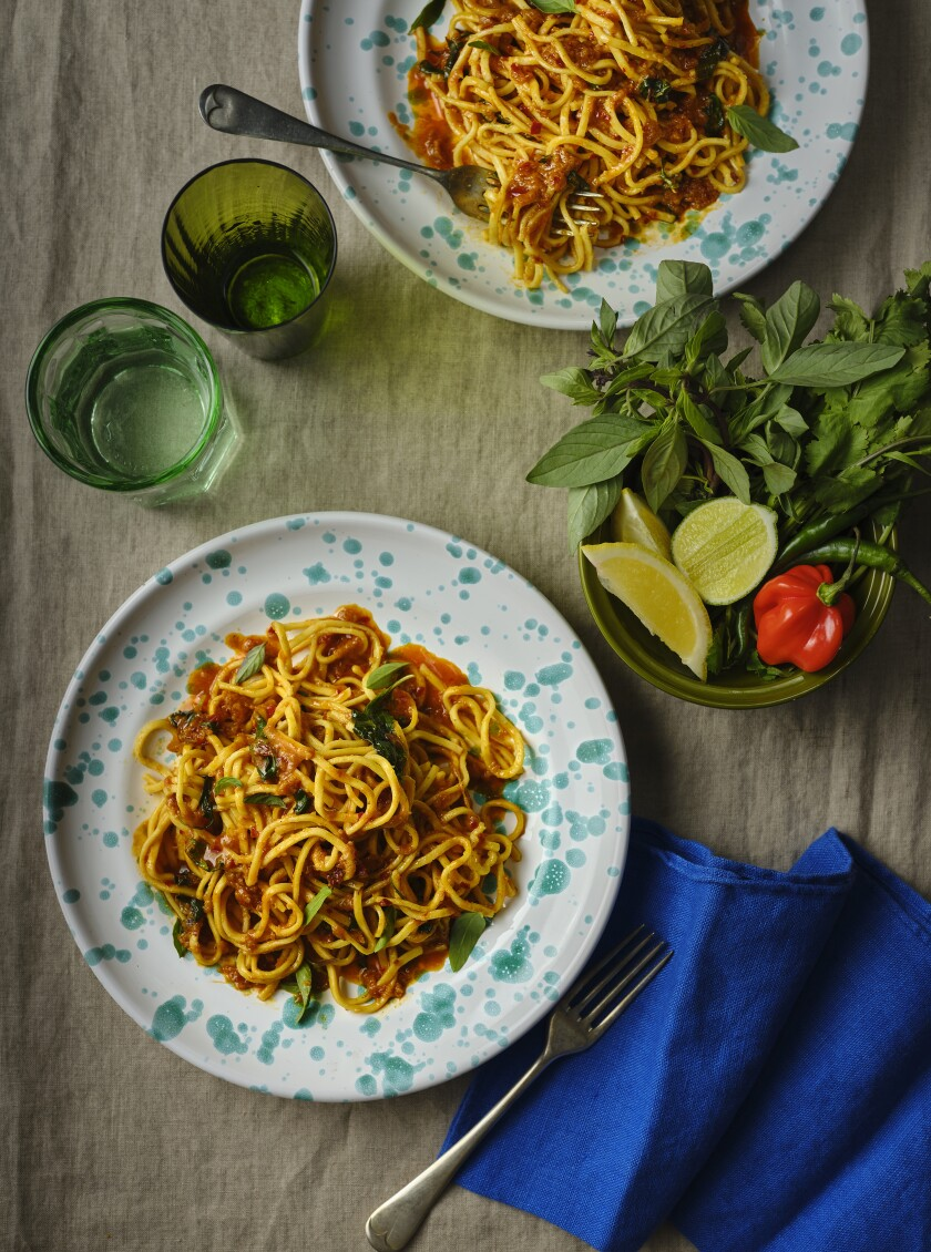 Sambal Butter Noodles includes the zing of sambal oelek, the fragrance of fresh basil and the umami of Parmesan.