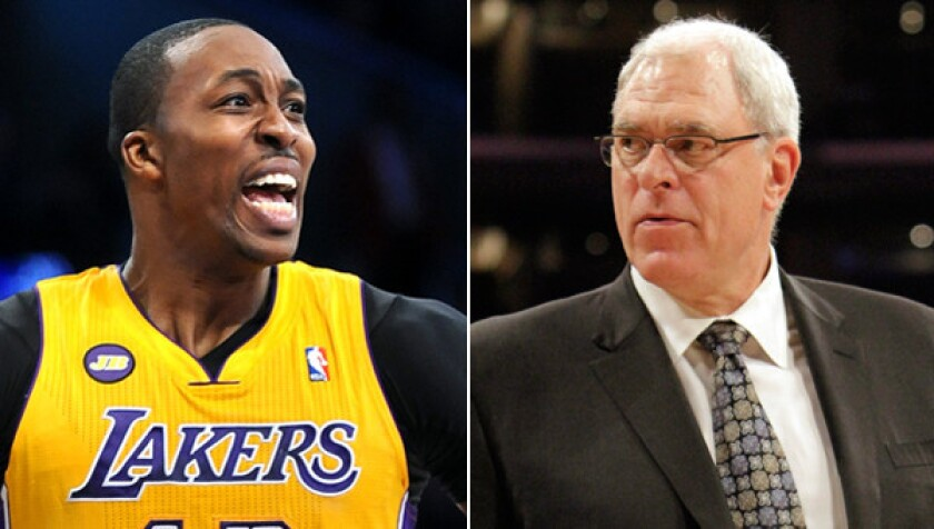 Former Lakers coach Phil Jackson, right, says the Lakers will be fine without Dwight Howard.