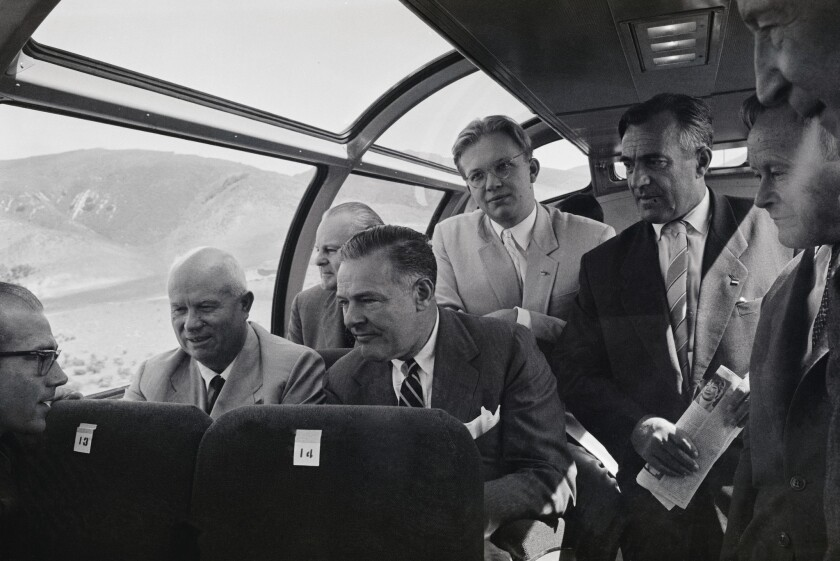 Sergei Khrushchev rides on a train from Los Angeles to San Francisco in 1959.