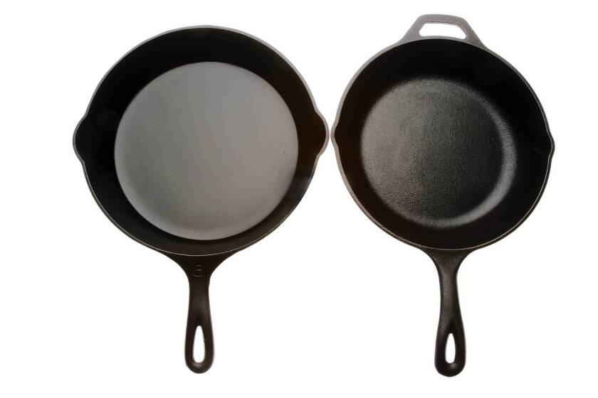 Some cooks prefer cast-iron cookware with a rough texture, others think a polished surface helps the seasoning.