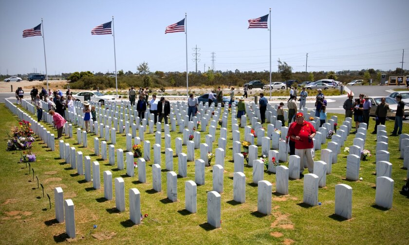 Visitors to Miramar National Cemetery.