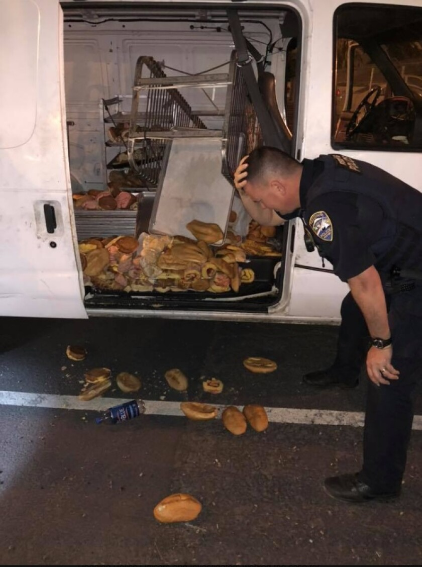 Police in Redding discovered dozens of discarded pastries inside a stolen bakery truck early Thursday.