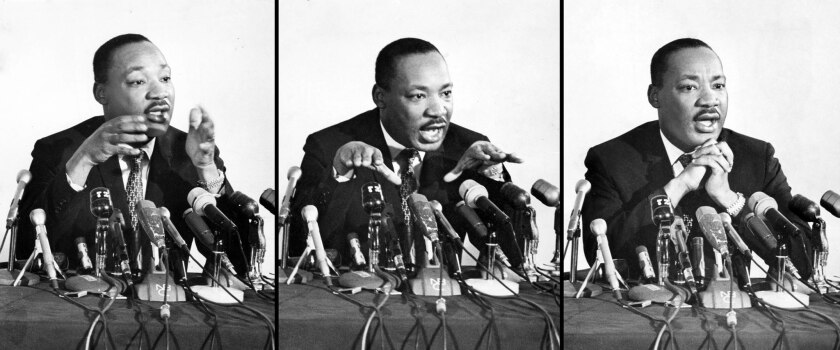 Apr. 12, 1967: Dr. Martin Luther King during press conference at the Biltmore Hotel in Los Angeles.