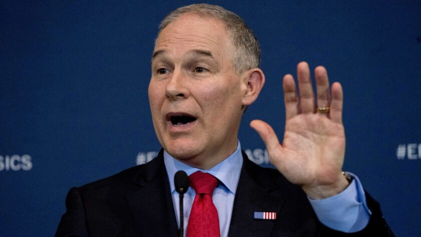 EPA Administrator Scott Pruitt speaks in Washington on April 3 about his decision to scrap Obama administration auto fuel economy standards.
