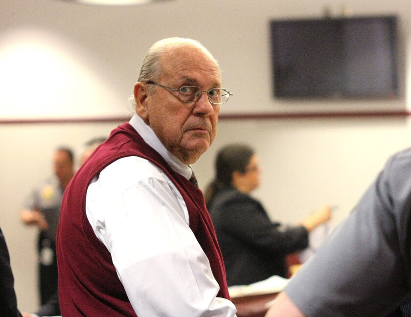 Curtis Reeves looks into the gallery during an earlier court bond hearing in Dade City, Fla.