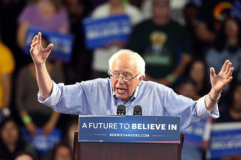 Sen. Bernie Sanders (I-Vt.) campaigns in Santa Cruz.