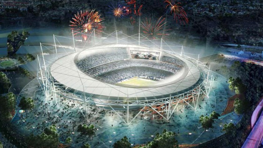 An artist's rendering of a proposed $1.1-billion San Diego stadium for the Chargers.