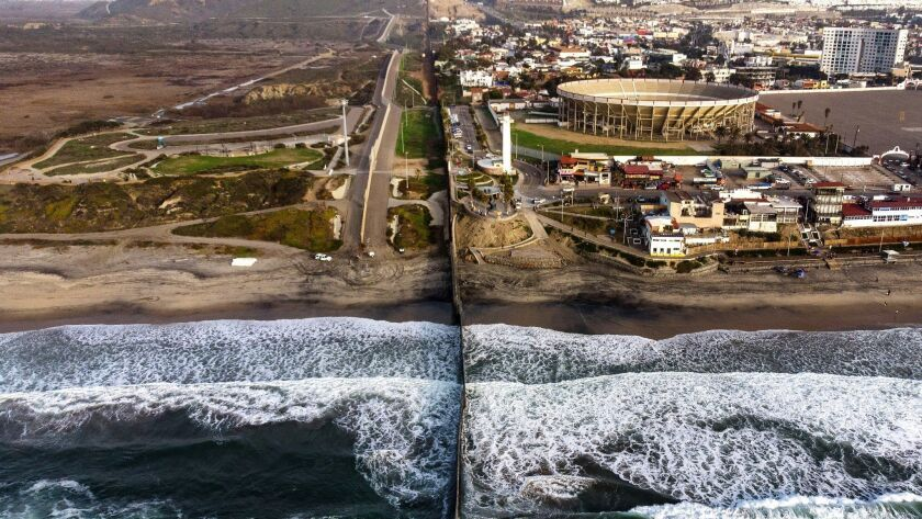 "The U.S. border fence seen from Playas de Tijuana, Mexico. Greg Grandin's history ""The End of The Myth"" examines what happened once America ran out of borders."