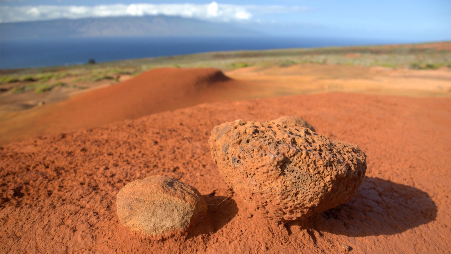 Lanai's Garden of the Gods offers unexpected scenery, the rich reds of its soil contrasting with the blue of the Pacific.
