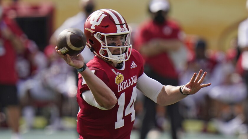 Indiana quarterback Jack Tuttle during the first half of the Outback Bowl.