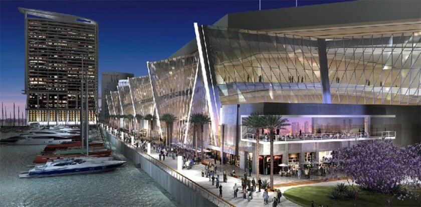 An artist's rendering of an expanded San Diego Convention Center on the bay side. (Tucker Sadler Architects)