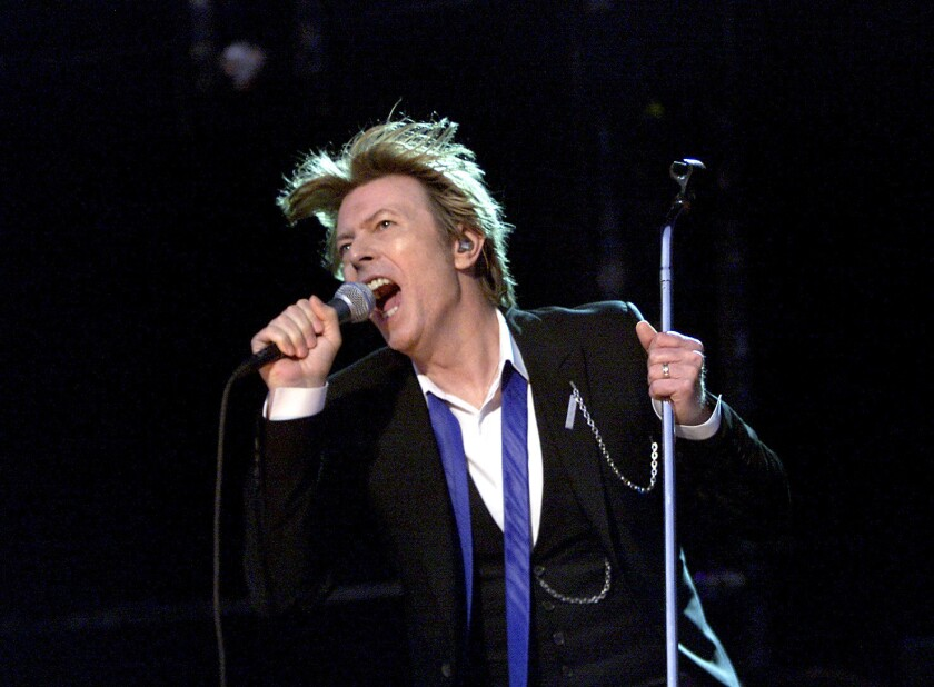 David Bowie performs at the Verizon Wireless Amphitheater in Irvine on Aug. 13, 2002.