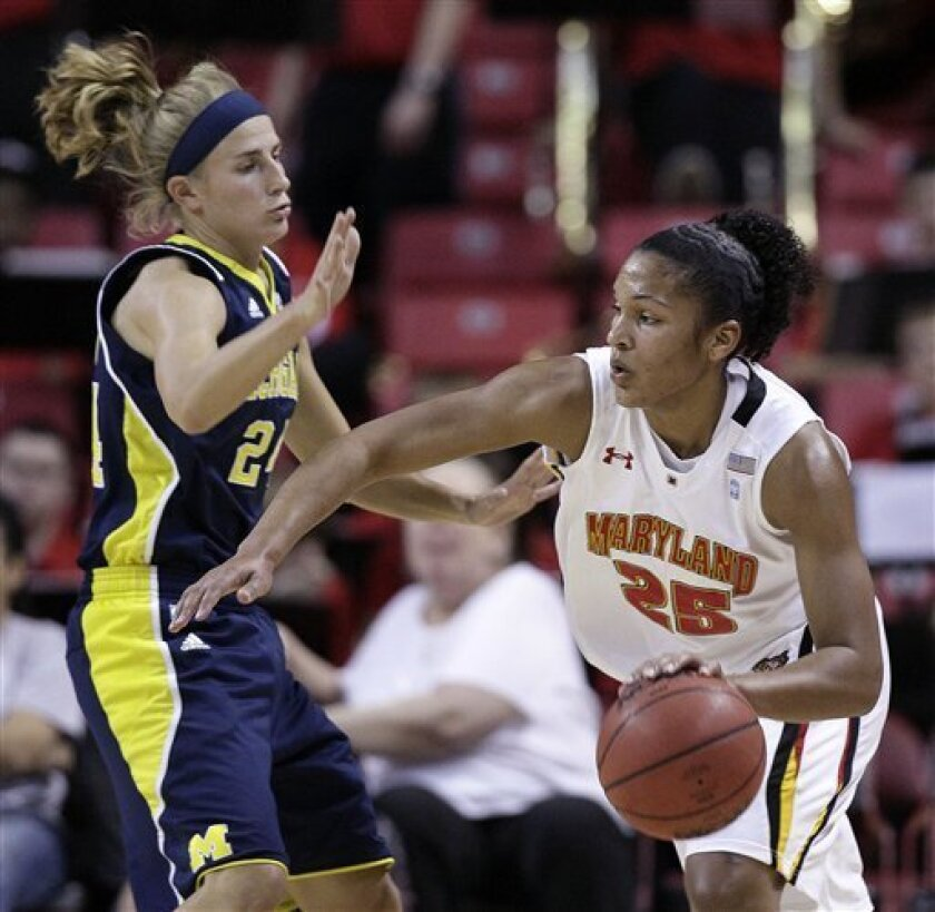 Maryland forward Alyssa Thomas, right, drives to the basket past Michigan guard Jenny Ryan during the first half of an NCAA college basketball game in College Park, Md., Wednesday, Nov. 30, 2011. (AP Photo/Patrick Semansky)