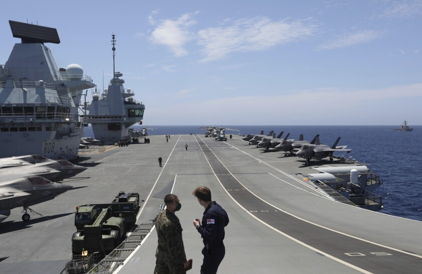 British aircraft carrier HMS Queen Elizabeth with fighter jets