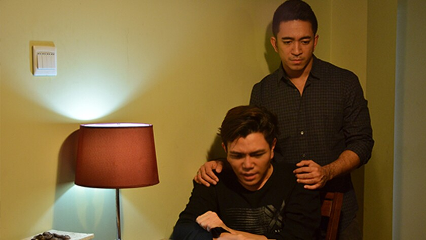 """Nyei Chan Kyaw, left, and Okkar Min Maung in the movie """"The Gemini."""""""