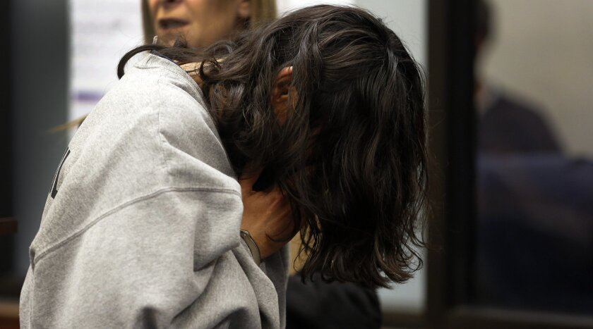 Patricia Corby is shown at her April arraignment. She has pleaded guilty in San Diego Superior Court to second degree murder for drowning her 4-year-old autistic son, Daniel.