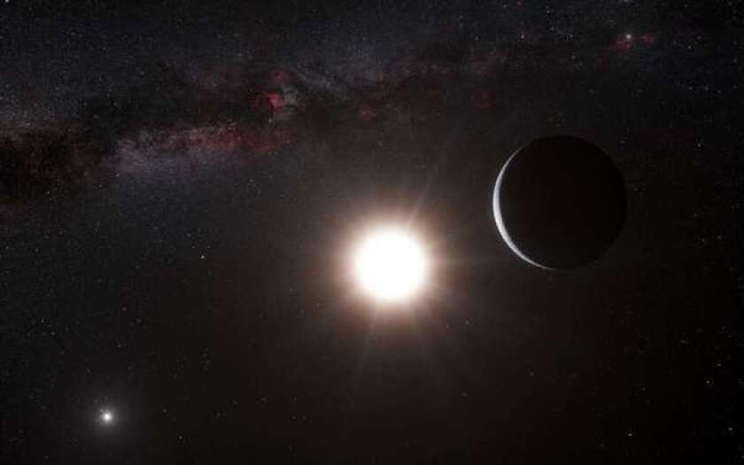 """This artist's representation shows a planet, right, orbiting the star Alpha Centauri B, center, a member of the triple star system that is closest to Earth. This exoplanet sat too close to its star for liquid water to exist. Now, another team of scientists says it has discovered a super-Earth planet some 44 million light-years away in its system's """"habitable zone."""""""