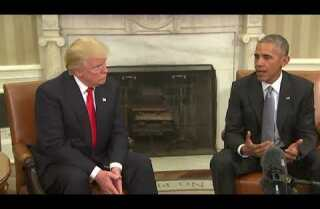 President Obama and Donald Trump in the Oval Office