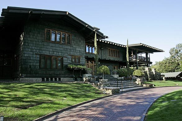 This is the front view of the iconic Gamble House in Pasadena, which was designed by architects Charles Greene and Henry Greene for David and Mary Gamble of Procter & Gamble Co. In 2008, the house celebrated its 100th anniversary. This and the following photos were taken during the Velvet Ropes Tour.