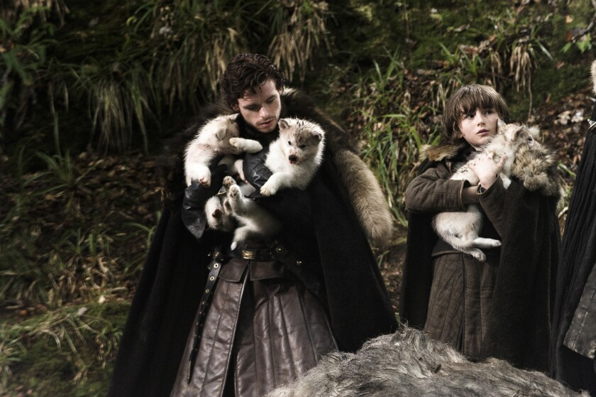 Scene from the HBO series GAME OF THRONES: Richard Madden, Isaac Hempstead–Wright. photo: Helen Sloa