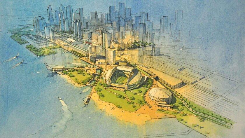Artist's rendering of proposed stadium at the 10th Avenue Marine Terminal site.