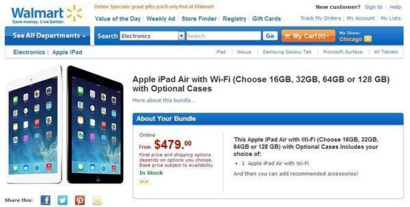 Wal-Mart has prompted several retailers to sell the base model of the iPad Air at a $20 discount.