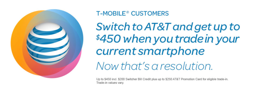 AT&T announced on Friday that it will give T-Mobile customers as much as $450 in credit to switch carriers.