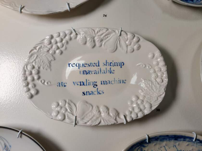 """Part of Julie Green's """"The Last Supper"""" series, in which the artist depicts the final meal requests of death row inmates. It's on view at the American Museum of Ceramic Art."""