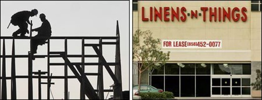 The construction sector (left) accounted for the highest number of job cuts in 2008. Linens 'n Things was among several retailers to close stores last year. (Rich Pedroncelli / AP file, left, and Howard Lipin / Union-Tribune file)
