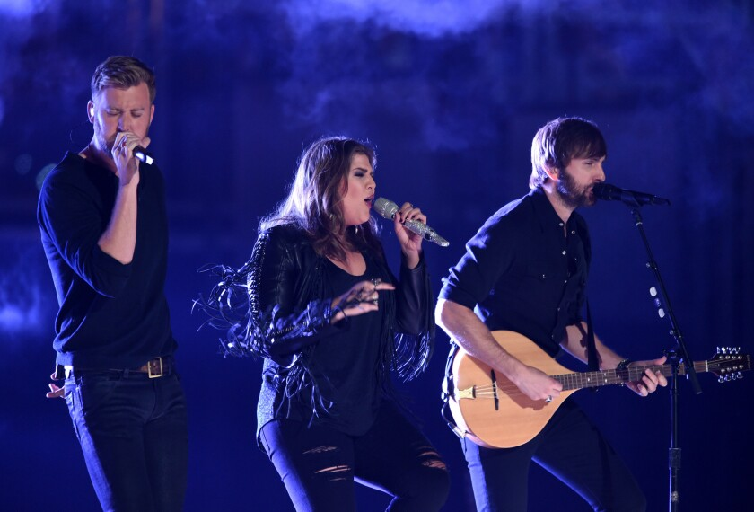 Charles Kelley, left, Hillary Scott and Dave Haywood of Lady Antebellum