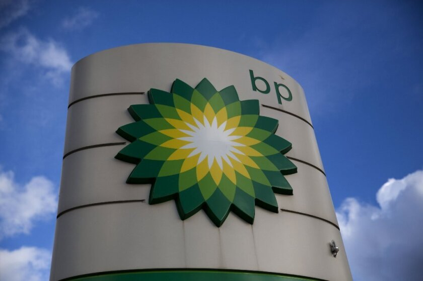 A BP logo at a gasoline station in Buckinghamshire, England.