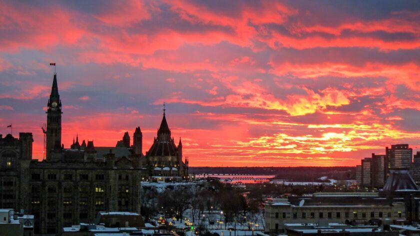 OTTAWA, CANADA - Parliament buildings on Ottawa's skyline.
