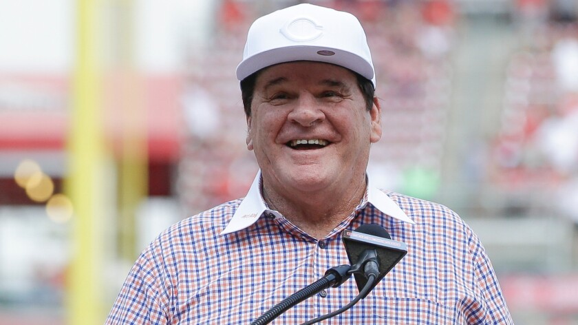 Pete Rose is inducted into the Cincinnati Reds Hall of Fame on June 25.