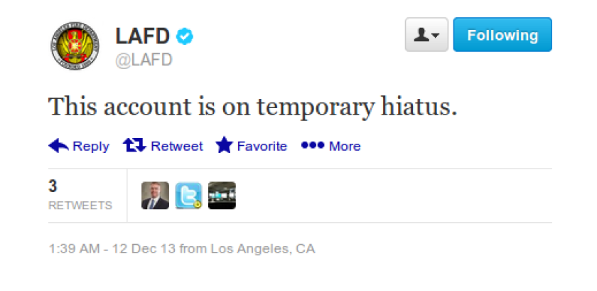 A post on the LAFD's twitter account early Thursday morning.