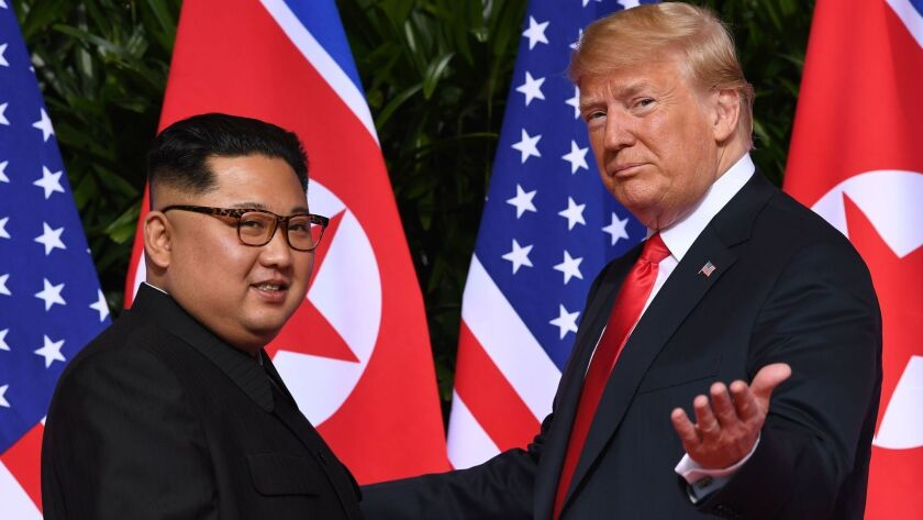 President Trump and North Korean leader Kim Jong Un at their summit in Singapore in June.