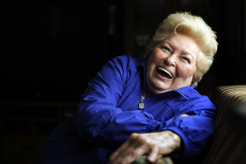 Jo Lasorda sits in her home in Fullerton