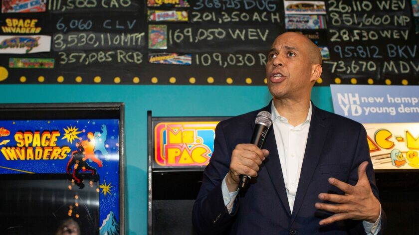 Sen. Cory Booker was one of seven Democratic hopefuls campaigning in New Hampshire over Presidents Day weekend.