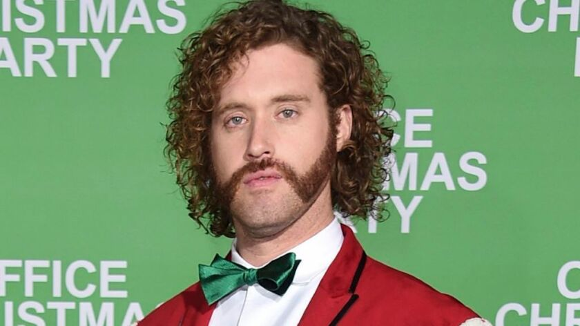 """T.J. Miller, pictured at the Dec. 7 Los Angeles premiere of """"Office Christmas Party,"""" was arrested Friday morning, but will keep his gig hosting Sunday's Critic's Choice Awards."""