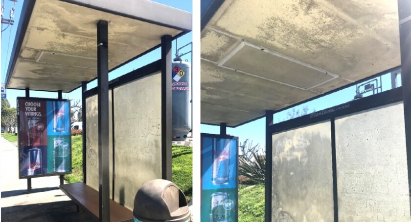 Fountain Valley will seek proposals from potential contractors to improve the bus stops in the city, like this one.