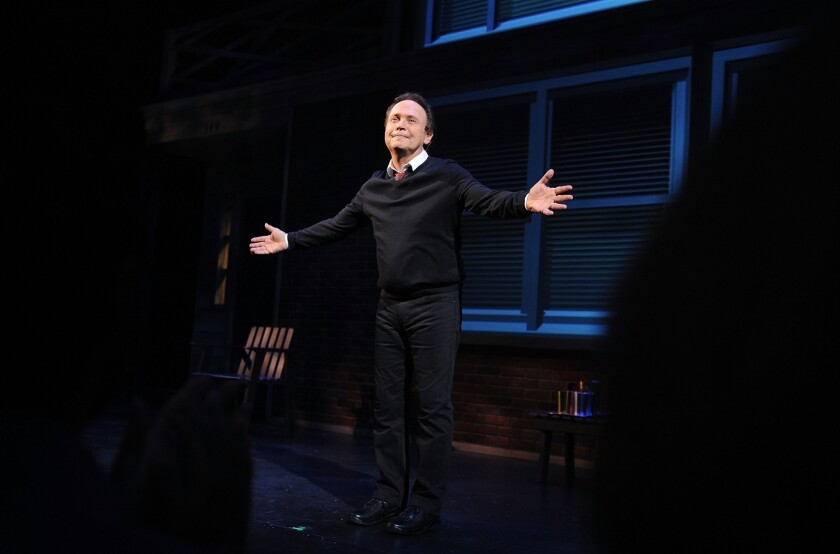"""Billy Crystal at an opening-night curtain call for """"700 Sundays"""" at Broadway's Imperial Theatre."""